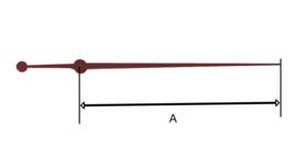 sec71 Secondewijzer voor quartz. 65mm. rood