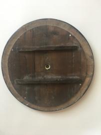ODB03 glazen en houten wijzerplaat oeil de boeuf met romeinse cijfers