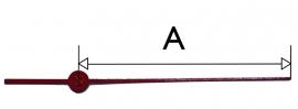 303.zw. Secondewijzer voor quartz. 50mm. rood