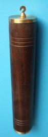 Ar.4 Holle massief eikenhouten huls met messing afsluitdoppen 254/40 mm