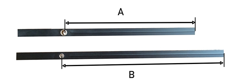 Extra lange wijzerset voor extra sterk electrisch uurwerk, 180/225 mm