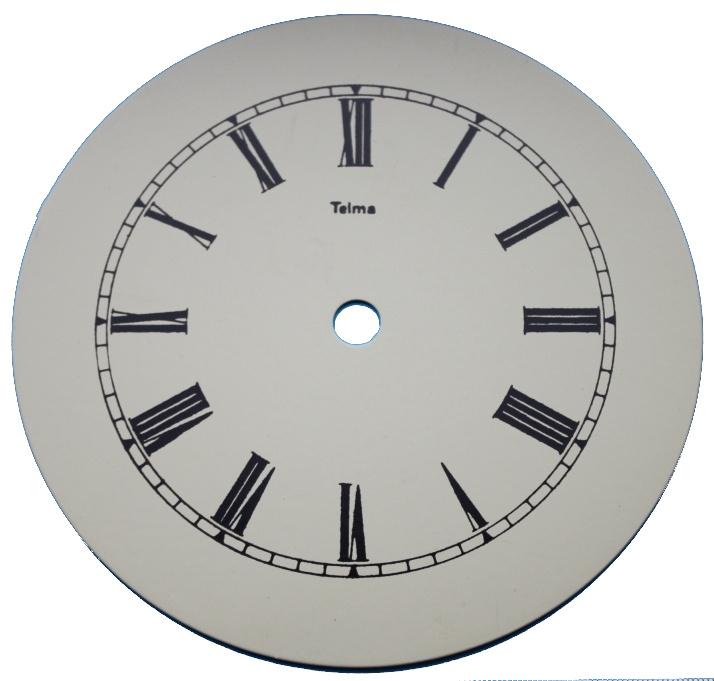 109.27 egg shell aluminium clock dial, 145 mm