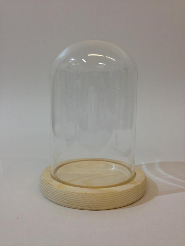 Glazen stolp met blank houten voet voor skeletklokken of jaarpendules, 90/150 mm