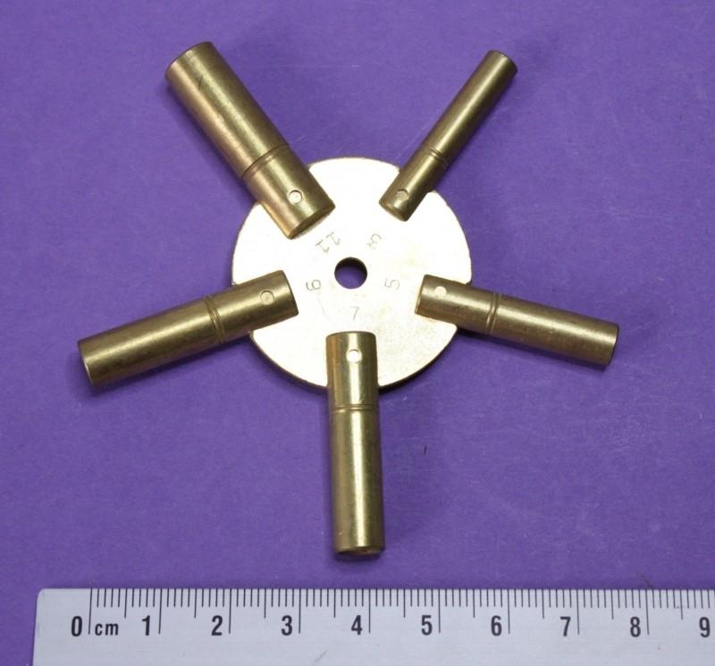 Veelzijdige messing stersleutel voor opwindas 3 mm, 3,5 mm, 4 mm 4,5 en 5 mm