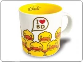 """Witte mok met oor """"I love Bduck"""" geel"""