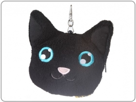 Pluche portemonee kat met trekkoord zwart