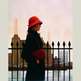 The woman with the red hat