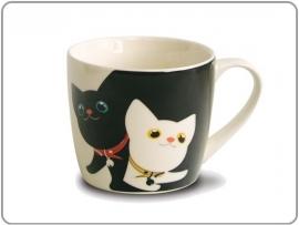 Porcelein mok b&w cat