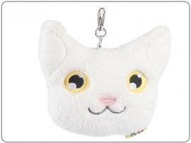 Pluche portemonee kat met trekkoord wit