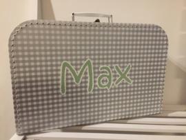 Koffer zilver ruit 35 cm