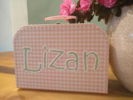 Koffertje roze ruit 35 cm