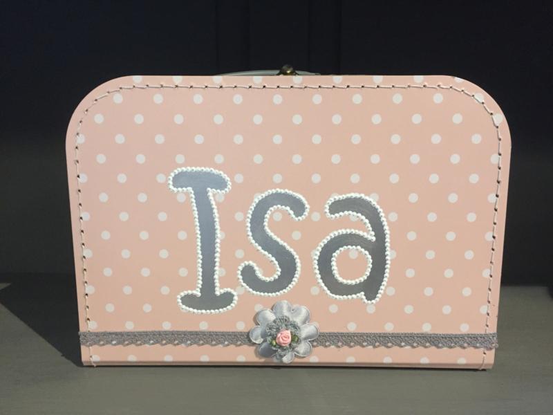 Zalmroze koffer met witte stip 30 cm