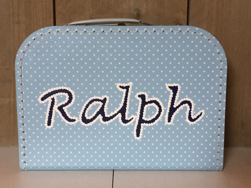 Koffer babyblauw met klein wit stipje 25 cm