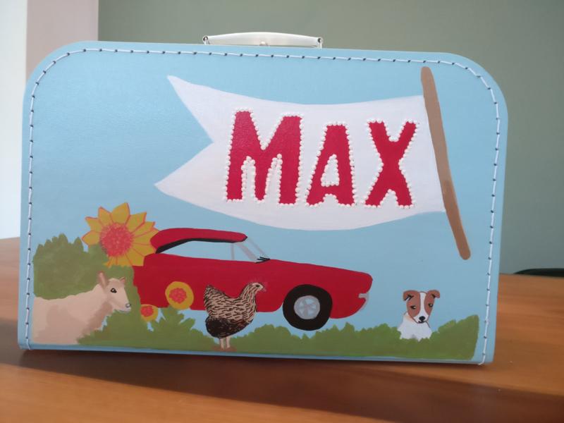 Koffertje van 35 cm met een geboorte kaartje beschildering