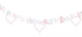 Bloemen ophang decoratie wit/roze