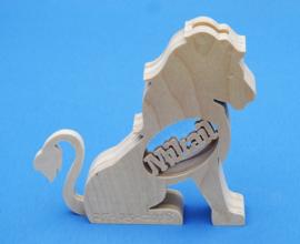 Sparbüchse Spardose Modell  Löwe, Lion mit eigenem Namen aus Holz als Mutterschaftsgeschenk.