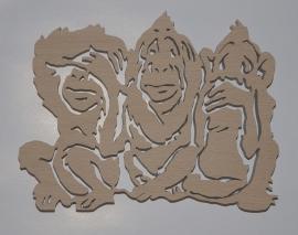 Horen zien en zwijgen 3 apen in hout