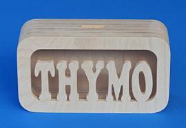 Sparbüchse Spardose Daan mit eigenem Namen aus Holz als Mutterschaftsgeschenk.