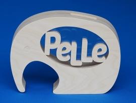 Sparbüchse Spardose Modell Elephant 2 mit eigenem Namen aus Holz als Mutterschaftsgeschenk.