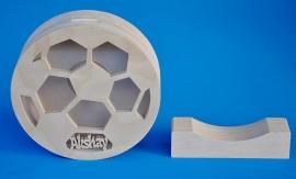 Spaarpot hout met eigen naam model voetbal.