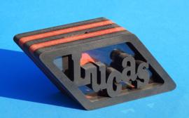Sparbüchse Spardose Modell Lucas mit eigenem Namen als Mutterschaftsgeschenk.