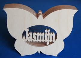 Spaarpot van hout met eigen naam model Vlinder 2.