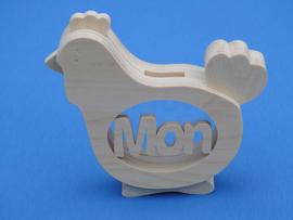Sparbüchse Spardose Modell Hähnchen mit eigenem Namen aus Holz als Mutterschaftsgeschenk.