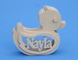Spaarpot hout met eigen naam model eend.