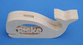 Sparbüchse Spardose Modell Walfisch 2 mit eigenem Namen aus Holz als Mutterschaftsgeschenk.