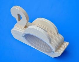 Spaarpot hout met eigen naam model Zwaan.