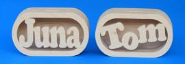 Spaarpot hout met eigen naam model Daniel.