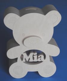 Spaarpot hout met eigen naam model Teddybeer.