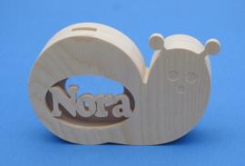 Sparbüchse, Spardose Modell Schnecke mit eigenem Namen aus Holz als Mutterschaftsgeschenk.