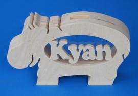 Spaarpot met eigen naam model Nijlpaard 2