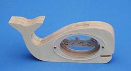 Spaarpot hout met eigen naam model walvis 2.