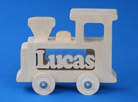 Sparbüchse Spardose Modell Zug mit eigenem Namen aus Holz als Mutterschaftsgeschenk.