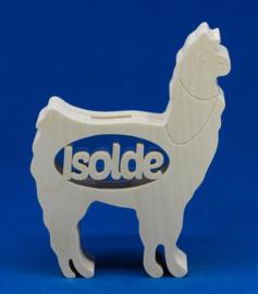 Sparbüchse Spardose Modell Alpaca mit eigenem Namen aus Holz als Mutterschaftsgeschenk.