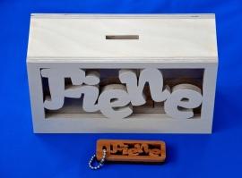 Sparbüchse Spardose Modell Mick mit eigenem Namen aus Holz mit Schlüsselanhänger.