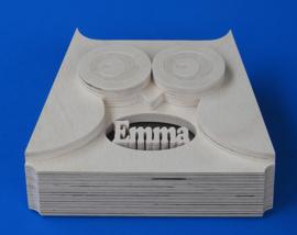 Spaarpot met eigen naam model Uil 3.