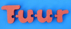 Namen met puzzelkoppeling TUUR van gekleurd 19 mm dik Valchromat.