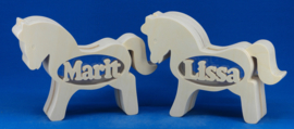 Spaarpot hout met eigen naam model Paard.