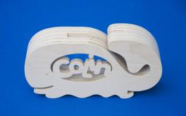 Sparbüchse Spardose Modell Walfisch mit eigenem Namen aus Holz als Mutterschaftsgeschenk.