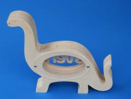Sparbüchse Spardose Modell Dinosaurier  mit eigenem Namen aus Holz als Mutterschaftsgeschenk.
