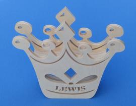Spaarpot hout met eigen naam model Kroon.