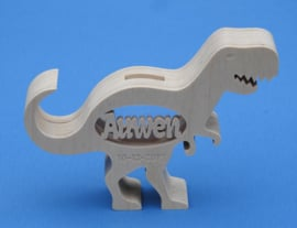 Spaarpot met eigen naam model Dinosaurus T-rex van hout.