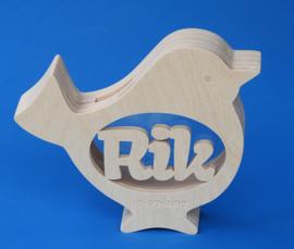 Sparbüchse Spardose Modell Vogel 1 mit eigenem Namen aus Holz als Mutterschaftsgeschenk.