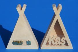 Spaarpot met eigen naam model Tipi Tent.