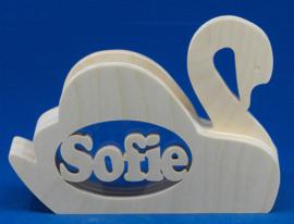 Sparbüchse Spardose Modell Swan mit eigenem Namen aus Holz als Mutterschaftsgeschenk.