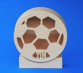 Sparbüchse Spardose Modell Fußball mit eigenem Namen aus Holz als Mutterschaftsgeschenk.