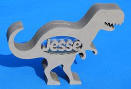 Spardose mit eigenem Namen Modell Dinosaurier T-rex aus gefärbtem Valchromat.